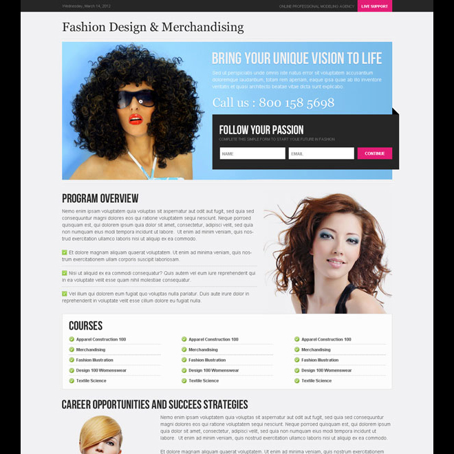 follow your passion optimized and converting small lead capture landing page design template Fashion and Modeling example