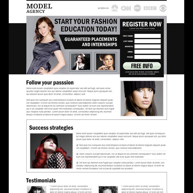 start your fashion education today effective converting and clean register now splash page design Fashion and Modeling example