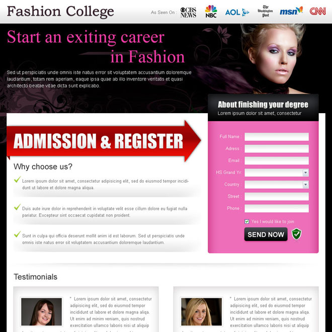 fashion and modeling lead capture landing page design template Fashion and Modeling example