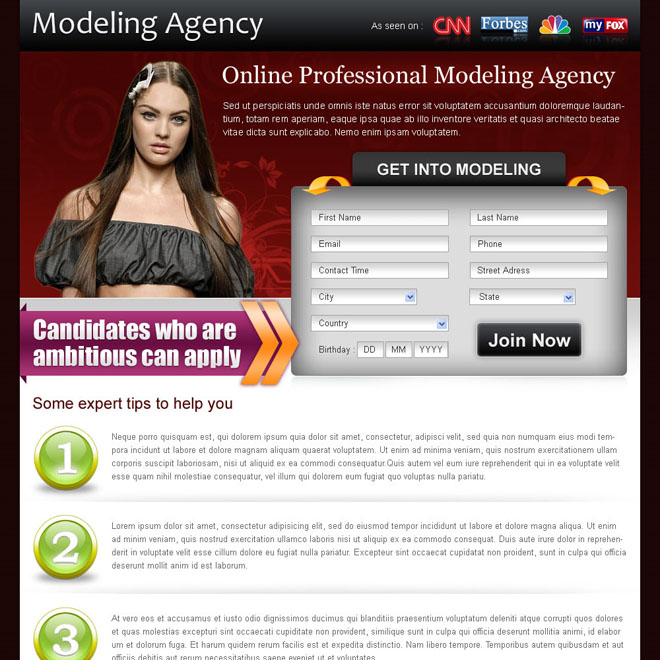 appealing modeling agency lead capture squeeze page template design Fashion and Modeling example