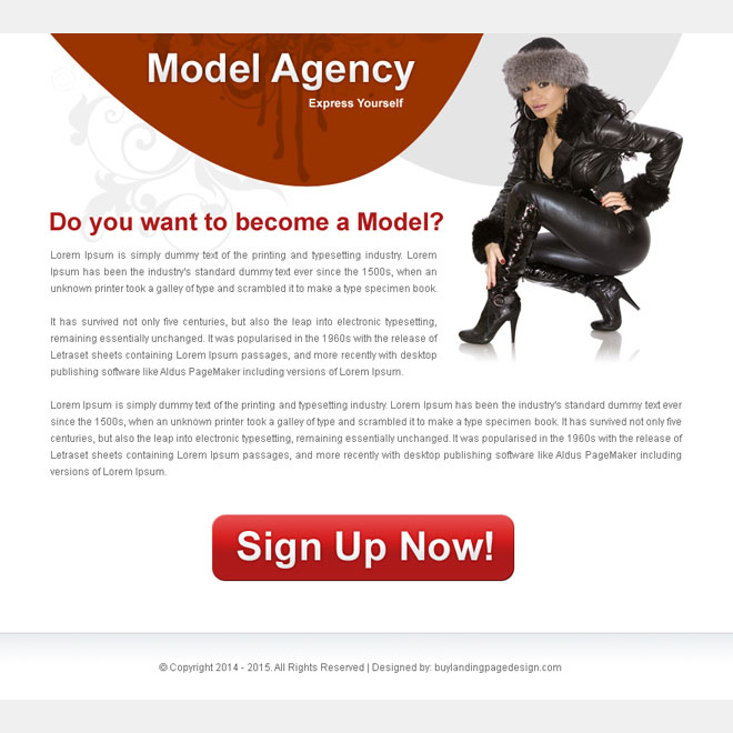 modeling agency clean and effective ppv landing page design Fashion and Modeling example