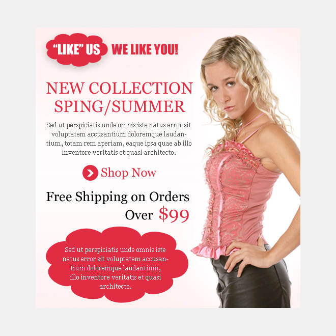 new summer and spring collection fashion html facebook fan page design PPV Landing Page example
