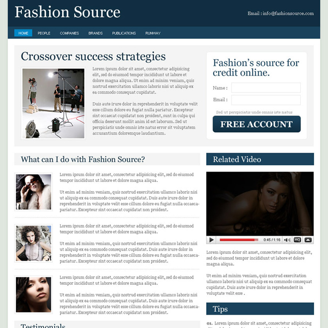 fashion source clean converting and optimized daily news landing page design Flogs example