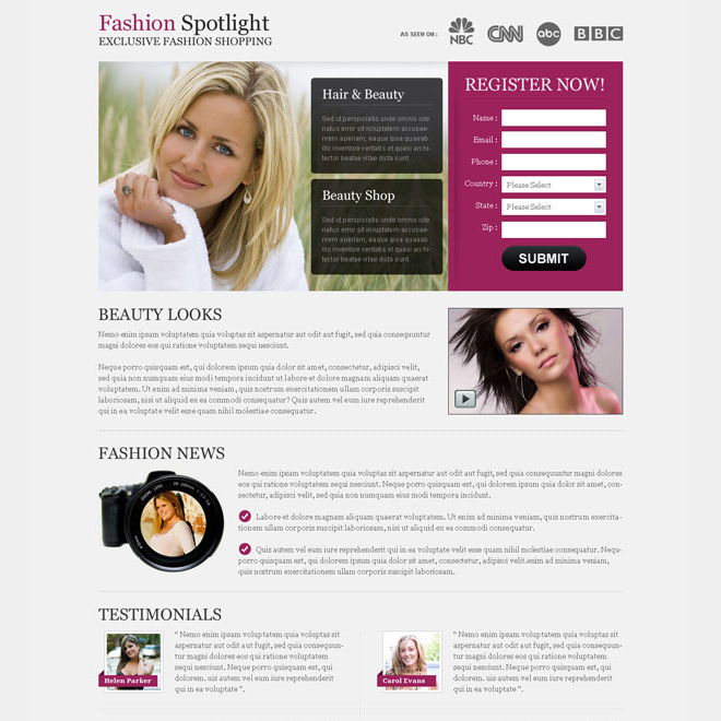 exclusive fashion shopping clean and converting splash page design Fashion and Modeling example