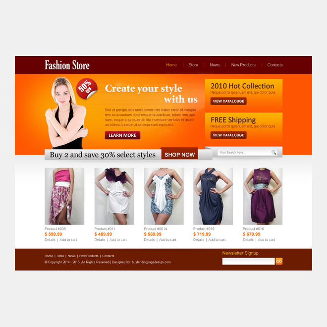 fashion store website template psd to create your online store Website Template PSD example