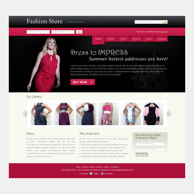 fashion store appealing and attractive website template design psd Website Template PSD example