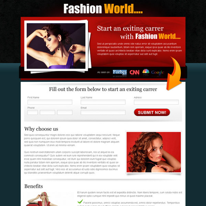 exciting career with fashion world lead capture landing page Fashion and Modeling example