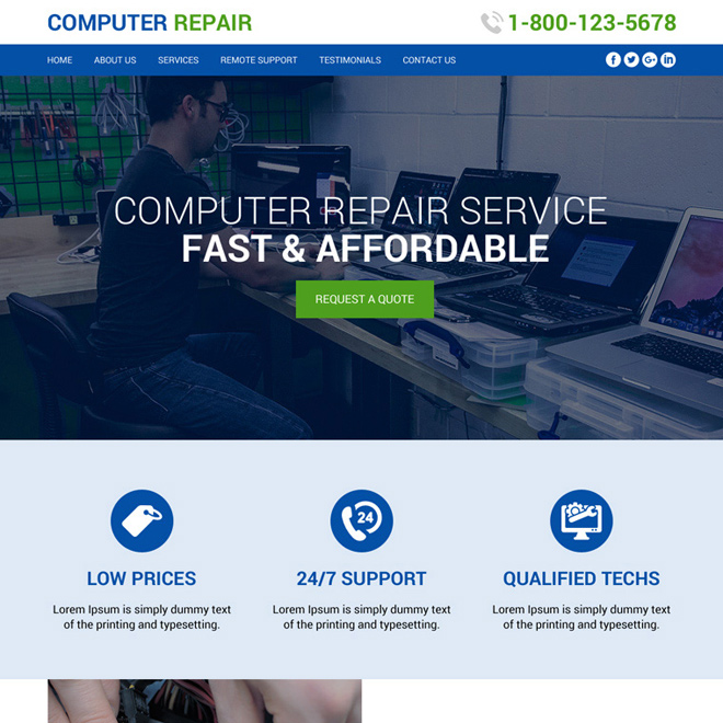 affordable computer repair service website design Computer Repair example
