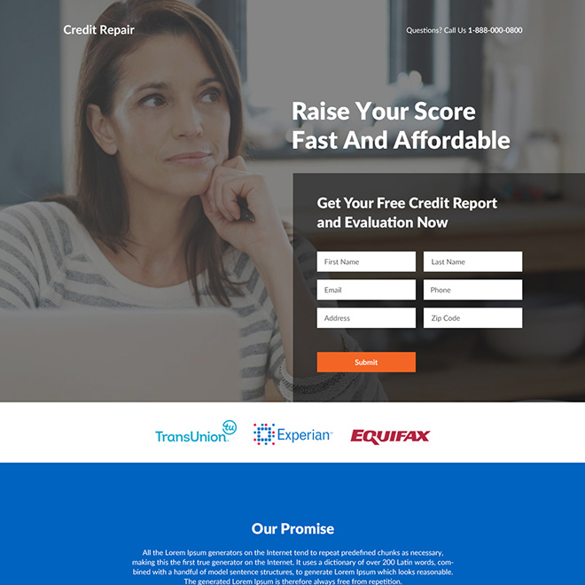 affordable credit repair services responsive landing page design Credit Repair example