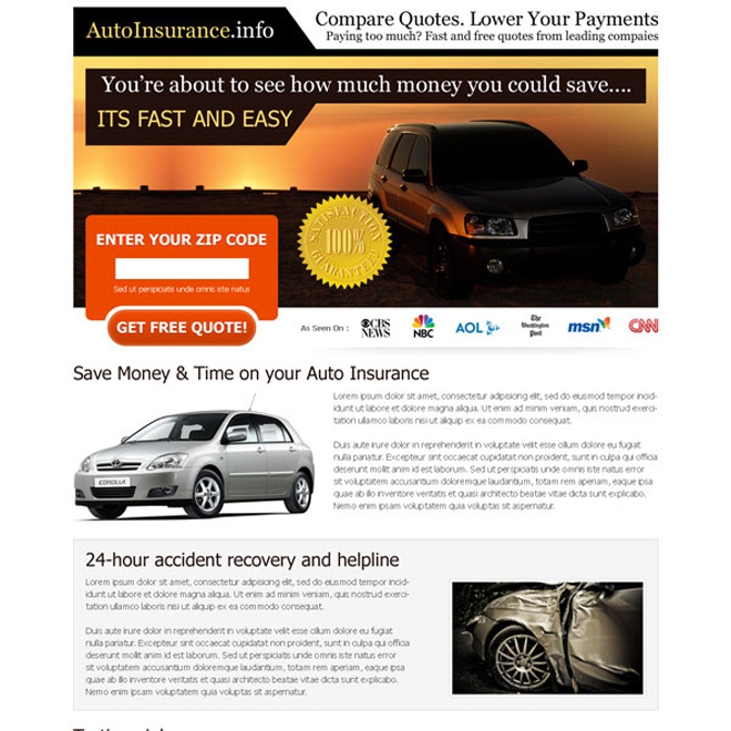 compare quotes lower your payments free quote lead capture squeeze page design Auto Insurance example