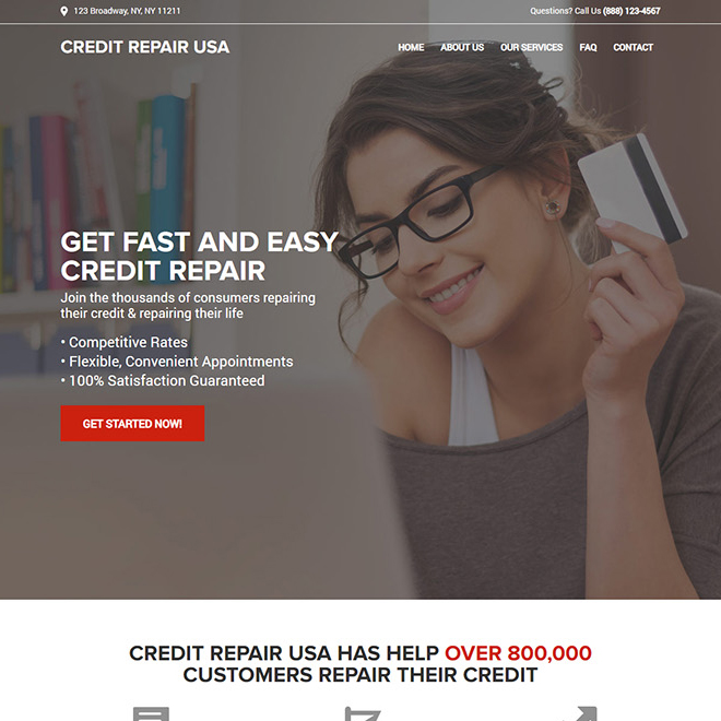fast and easy credit repair service responsive website design Credit Repair example