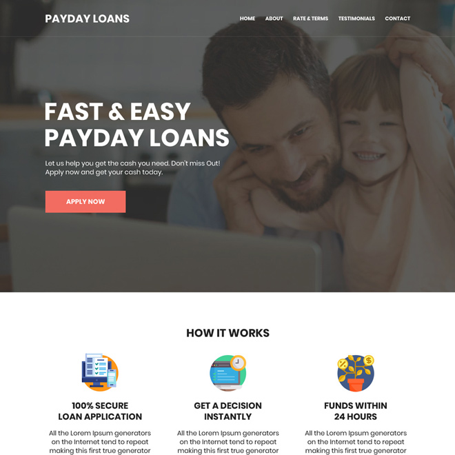 fast and easy payday loan responsive website design Payday Loan example