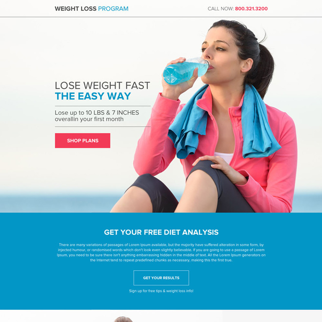 weight loss diet plans strong call to action lead capturing buttons responsive landing page Weight Loss example