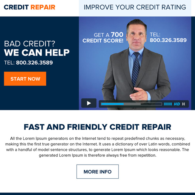 fast and friendly credit repair ppv landing page Credit Repair example