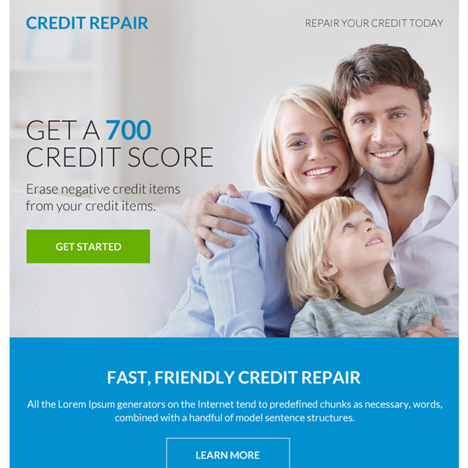 fast and friendly credit repair ppv landing page design Credit Repair example