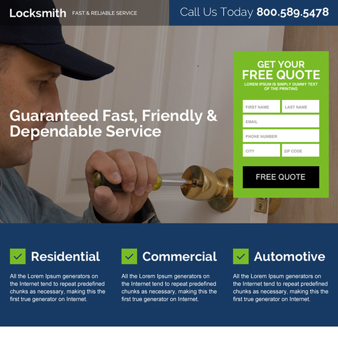 reliable locksmith service responsive landing page design Locksmith example