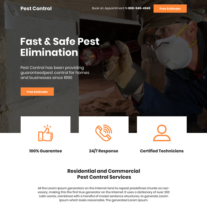 safe pest elimination free estimate bootstrap landing page Pest Control example