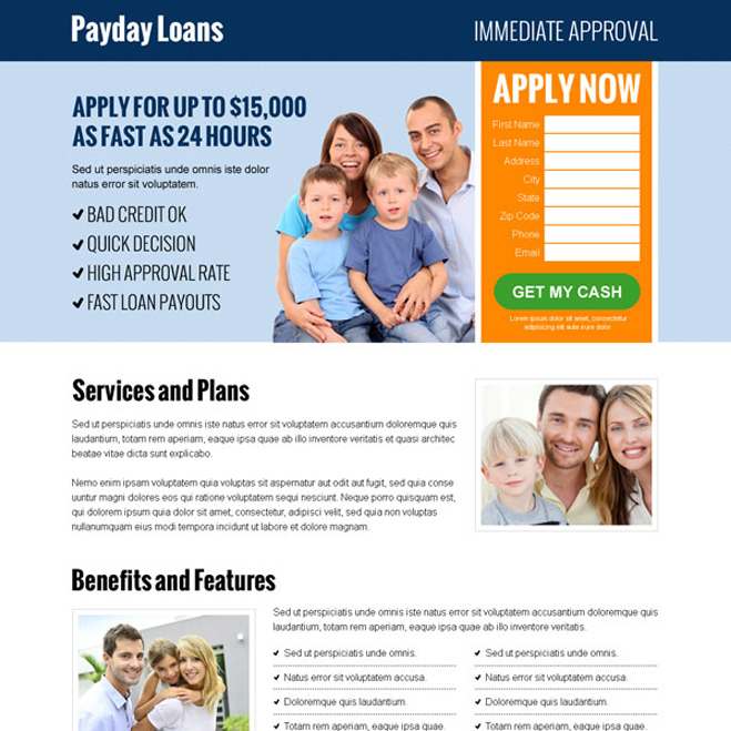 payday loan business conversion lead capture landing pages to boost your business with leads and sales Payday Loan example