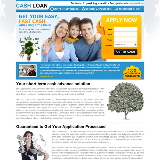 easy and fast cash loan lead capture squeeze page design Loan example