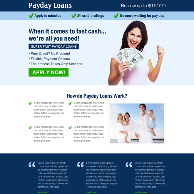 conversion centered effective call to action payday loan responsive landing page design Payday Loan example