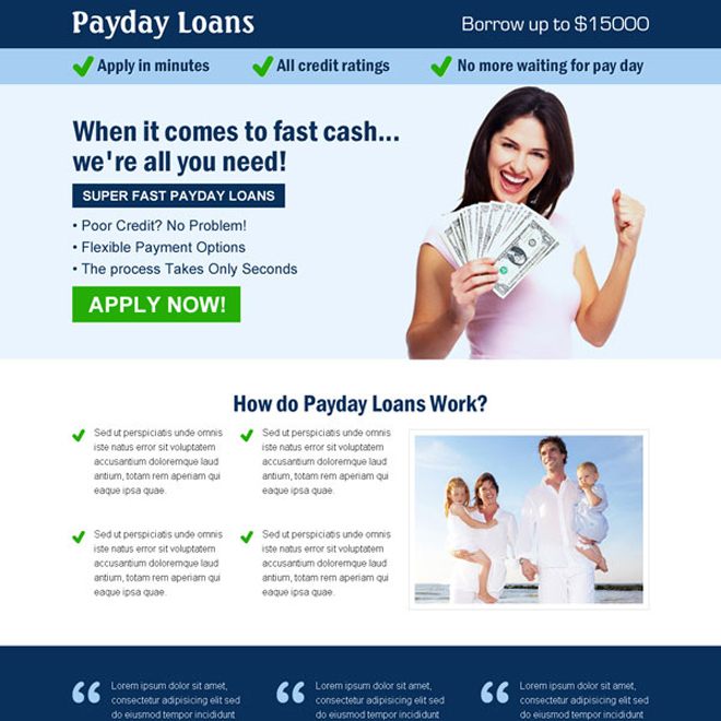 super fast payday loan apply now call to action landing page design template Payday Loan example