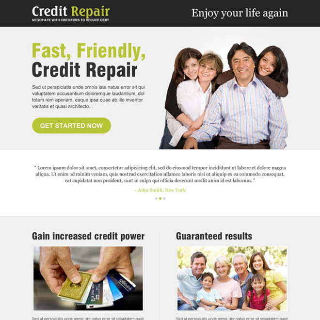 credit repair clean and minimal looking best landing page design Credit Repair example