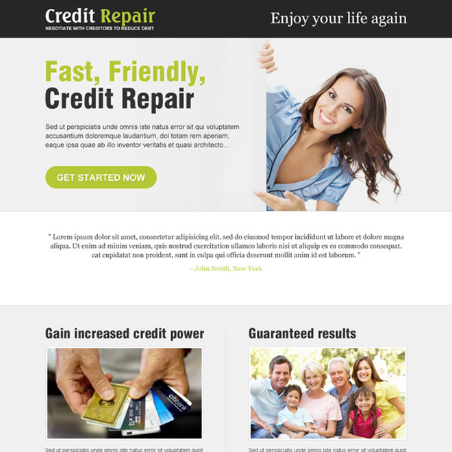 fast credit repair service landing page design Credit Repair example
