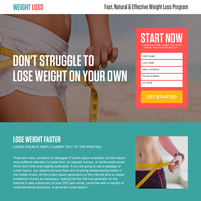 fast and natural weight loss lead generating landing page Weight Loss example