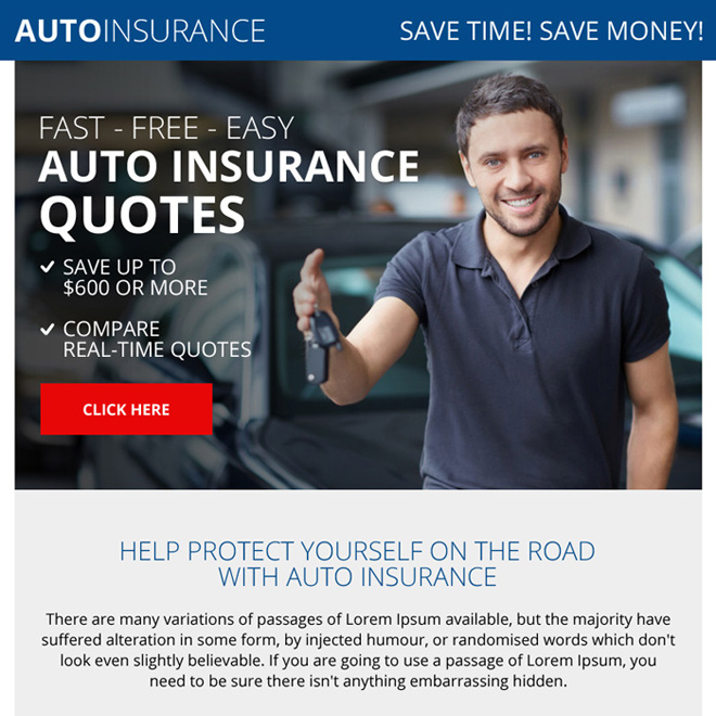 professional auto insurance quote ppv landing page design Auto Insurance example
