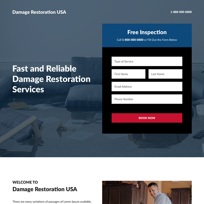 reliable damage restoration service free inspection responsive landing page Damage Restoration example