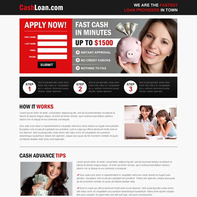 fast cash loan service small lead capture effective and converting landing page Loan example