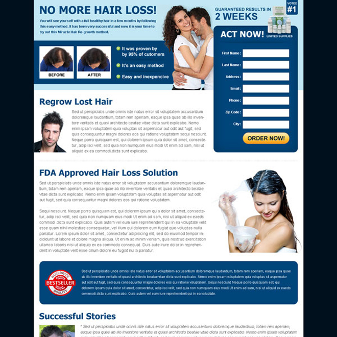 hair loss solution product lead generating landing page Hair Loss example