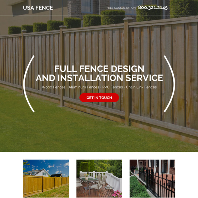 fencing design and installation responsive landing page design Fencing example