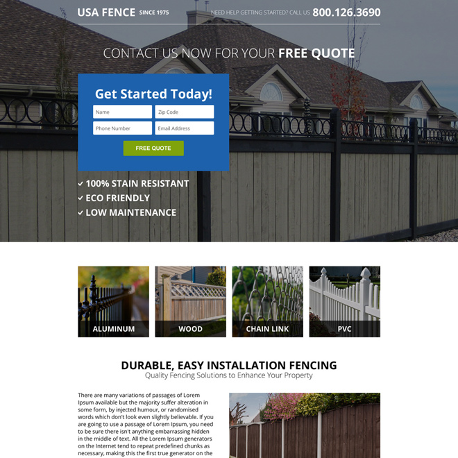 clean fencing small lead capture premium landing page Fencing example