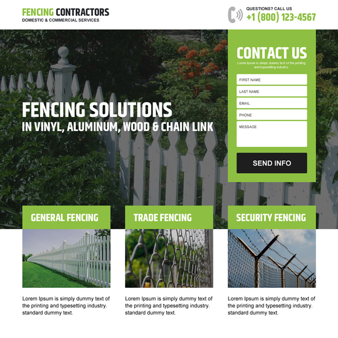 fencing contractors service lead generating landing page design Fencing example