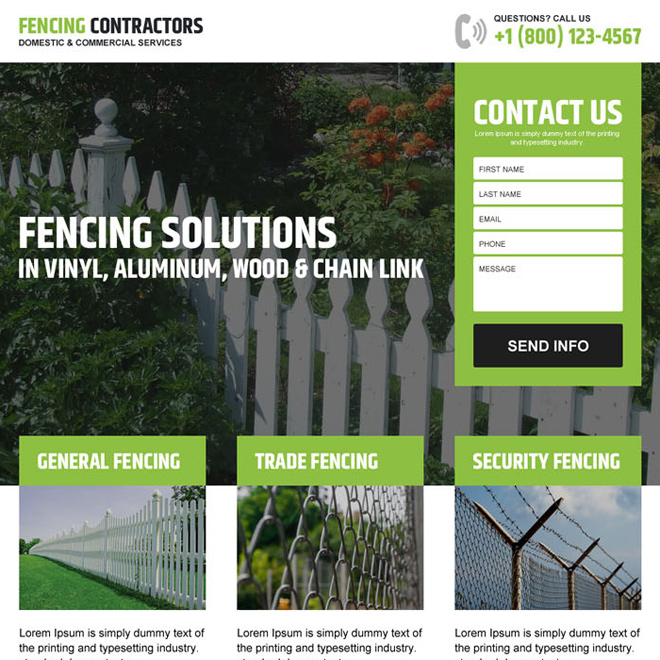 fencing installation service responsive landing page design Fencing example