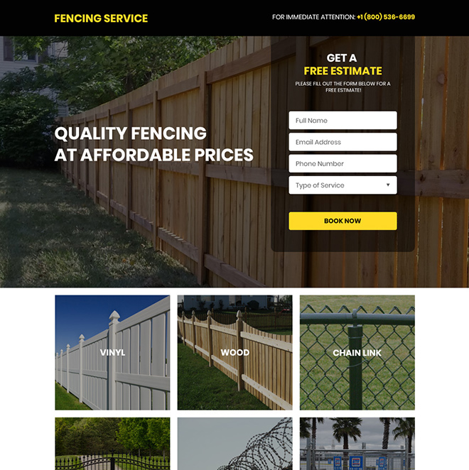 quality fencing services free estimate responsive landing page Fencing example