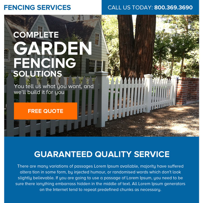 fencing service free quote lead generating ppv landing page Fencing example