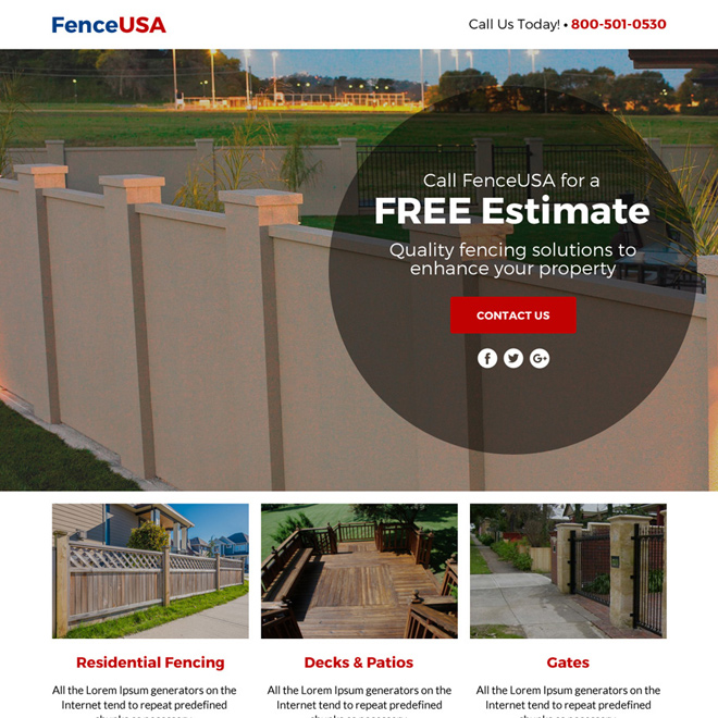 fencing service free estimate lead funnel landing page design Fencing example