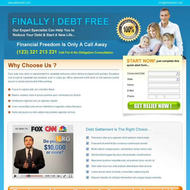 reduce your debt and become free landing page design for sale Debt example