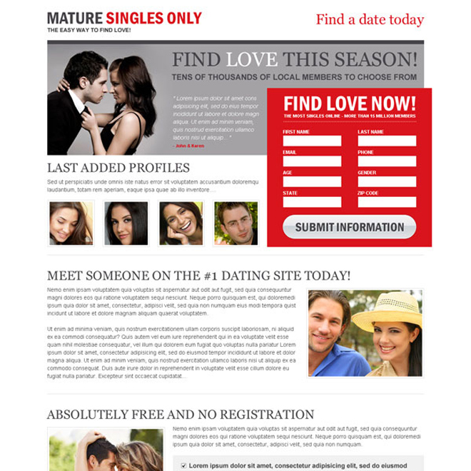 mature singles 2 column lead gen effective and converting landing page design Dating example
