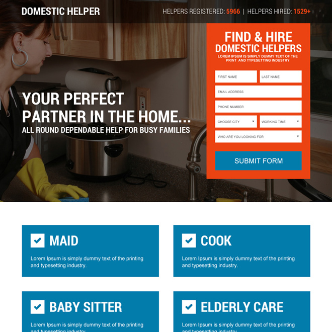 find and hire domestic helpers lead capturing landing page design Domestic Help example