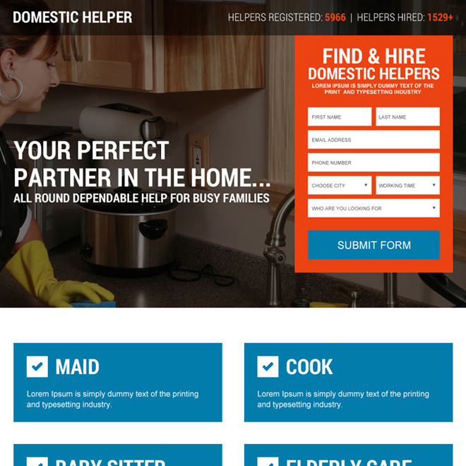 domestic help service lead form landing page design Domestic Help example