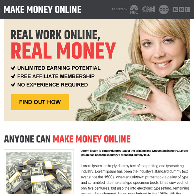 find out real work money online pay per view landing page design Make Money Online example