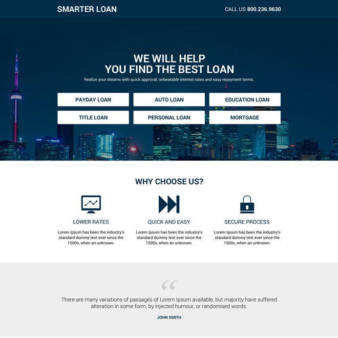 clean and smart loan lead capturing landing page Loan example