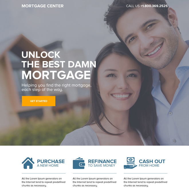 responsive mortgage center call to action landing page design Mortgage example