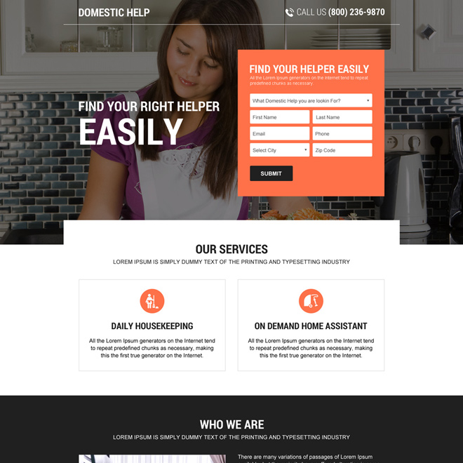responsive domestic help lead capturing landing page design Domestic Help example