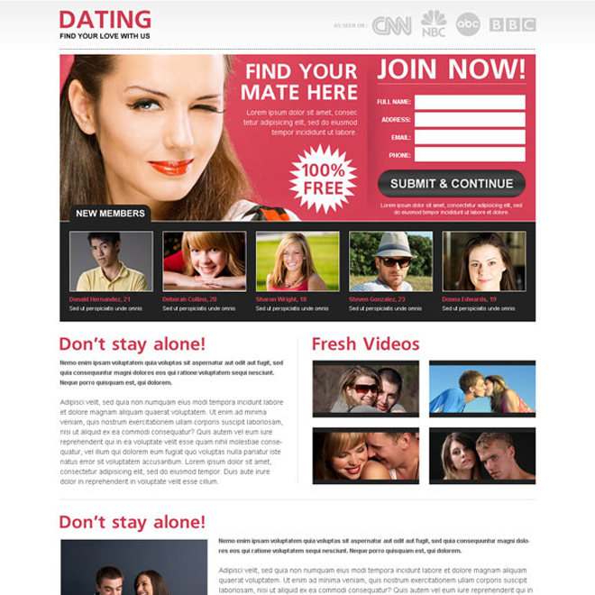 find your mate here join now lead capture squeeze page design Dating example