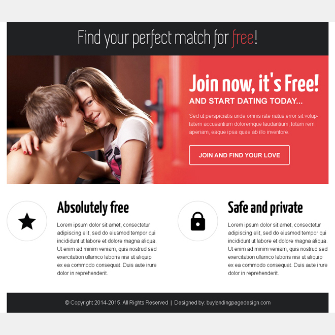 find your perfect match for free call to action ppv landing page Dating example