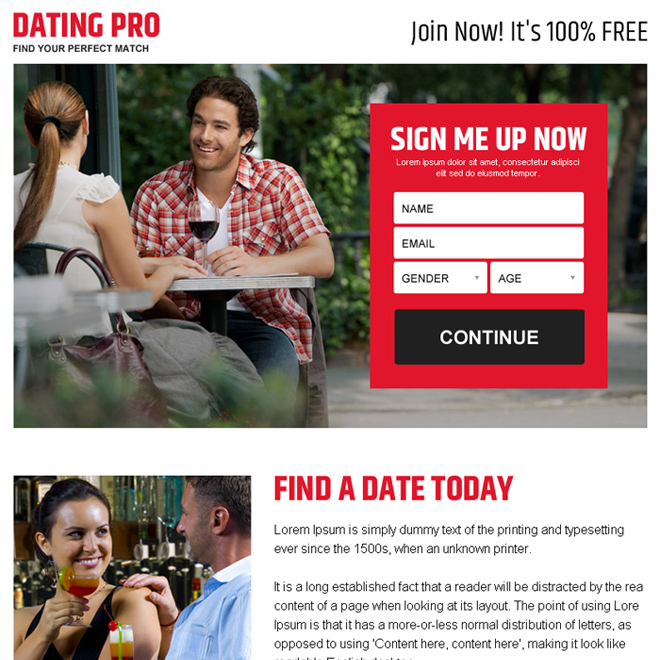find your perfect match sign up lead capture ppv landing page design Dating example